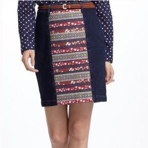 Anthropologie holding horses patterned denim skirt